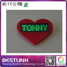 programmable scrolling led name tag green color rechargeable B729X LED name badge card business card