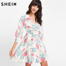 Buy SHEIN Casual Tassel Button Front Floral Print Dress Women V Neck Flare Sleeve Short Dress 2018 Half Sleeve Line Sweet Dress for $21.00 in AliExpress store