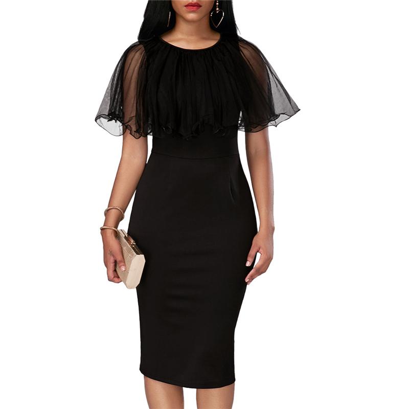 Adogirl Black Mesh Cape Bodycon Party Dresses Elegant Ladies Pencil Office Dress High Quality Cheap Work Wear Vestido De Festa 4