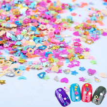 5000pcs 3mm Mixed Color Five-Pointed Star Moon Flower Heart Sequins DIY Craft 3D Tips Scrapbooking Nail Art Decoration Manicure