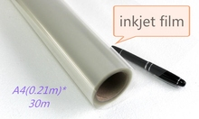 A4 size clear inkjet transparent film roll 0.21*30m(China)