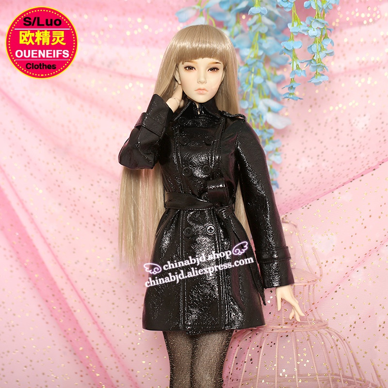 OUENEIFS free shipping fashion Long Leather Jacket Leather Coat include Stocking 1/3 bjd sd body clothes ,no doll or wig YF3-110<br>