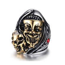 Unique Design Style Stainless Steel Crystal Ring Punk Design Skulls Rings for men(China)