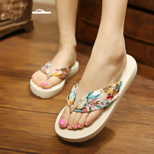 Summer New Bohemia Satin Slope Heel Beach Female Flip Flops Women Slippers