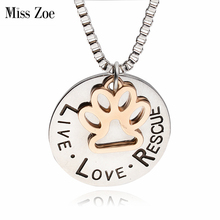 Miss Zoe Lettering LIVE LOVE RESCUE Hollow Gold Paw Claw Pendant Necklace Angel Pet Simple Jewelry Special Gift Adopt Dog Lovers