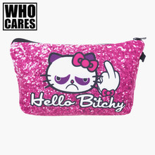 Hello bitchy Pink Cosmetic Bags 3D Printing Travel Makeup bag Small bags Gift trousse de maquillage make up bag pencil case(China)