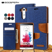 for Coque LG G3 D850 D855 LS990 case MERCURY GOOSPERY Canvas Leather Card Holder Phone Capa Bag Cover for LG G 3 Fundas