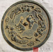 Elaborate Chinese Bronze Dynasty Palace Fairy Belle Two wolves Statue Bronze mirrors