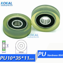 [PU1035-11] 10PCS TPU 6000RS ball bearing cash counting machine sliding drawer roller wheels 10*35*11mm OD 35mm PU rubber roller