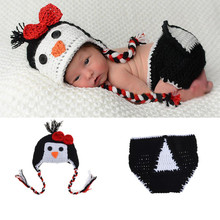 2017 Crochet BABY Penguin Hat Set Infant Kid Costume Knitted Halloween Cosplay Cartoon Newborn Crochet Outfits Photo Props Shoot