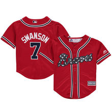 MLB Toddler Atlanta Braves Dansby Swanson Baseball Red Alternate Official Cool Base Player Jersey(China)