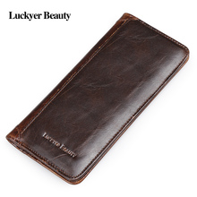 LUCKYER BEAUTY Genuine Crazy Horse Cowhide Leather Men Long Wallet Purse Card Holders Vintage Wallet Brand High Quality Designer(China)
