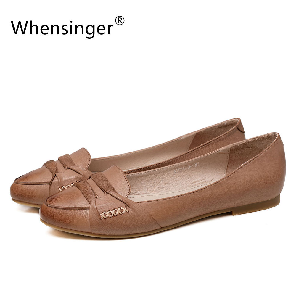 Whensinger - 2017 New Women Spring Flats Genuine Leather Shoes Slip-On 1798-3<br>