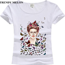 New Casual Women T shirt Frida Kahlo Flower Butterflies Cotton Short Sleeve Tops Woman Tee Shirts Hipster Clothing JF01(China)
