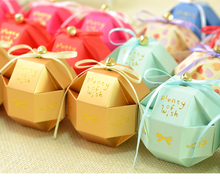 100pcs Fashion Wedding Favors Candy Boxes Bomboniera Party Gifts Chocolate Paper Boxes With Ribbons and Small Bells