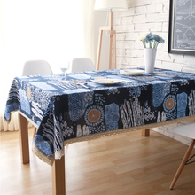 yazi Mediterranean Style Retro Cotton Linen Lace Tablecloth Wedding Party Decor Rectangle Table Cover 140x180cm