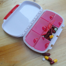 2pcs Mini Pillbox Container Non-removable plastic Case One Week  small Medicine Pill Drug Box  12cmx7.5cmx2.7cm