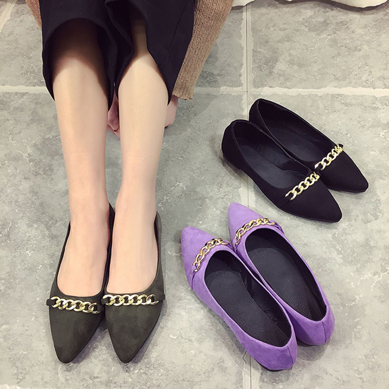 Fashion Casual Nude shoes Women 2017 Spring Autumn Korean style Pointed toe Flat Loafers Black Green and Purple colors<br><br>Aliexpress