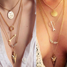 Hot Fashion Gold Plated Fatima Hand multilayer necklaces Metal Round crystal Angel wings Long arrow Pendant Necklaces N75