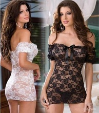 Baby Doll Sexy Lingerie Lace Solid Erotic Costumes Dress Underwear Transparent Lady's Robe Sets Lace Sexy Lingerie Dress