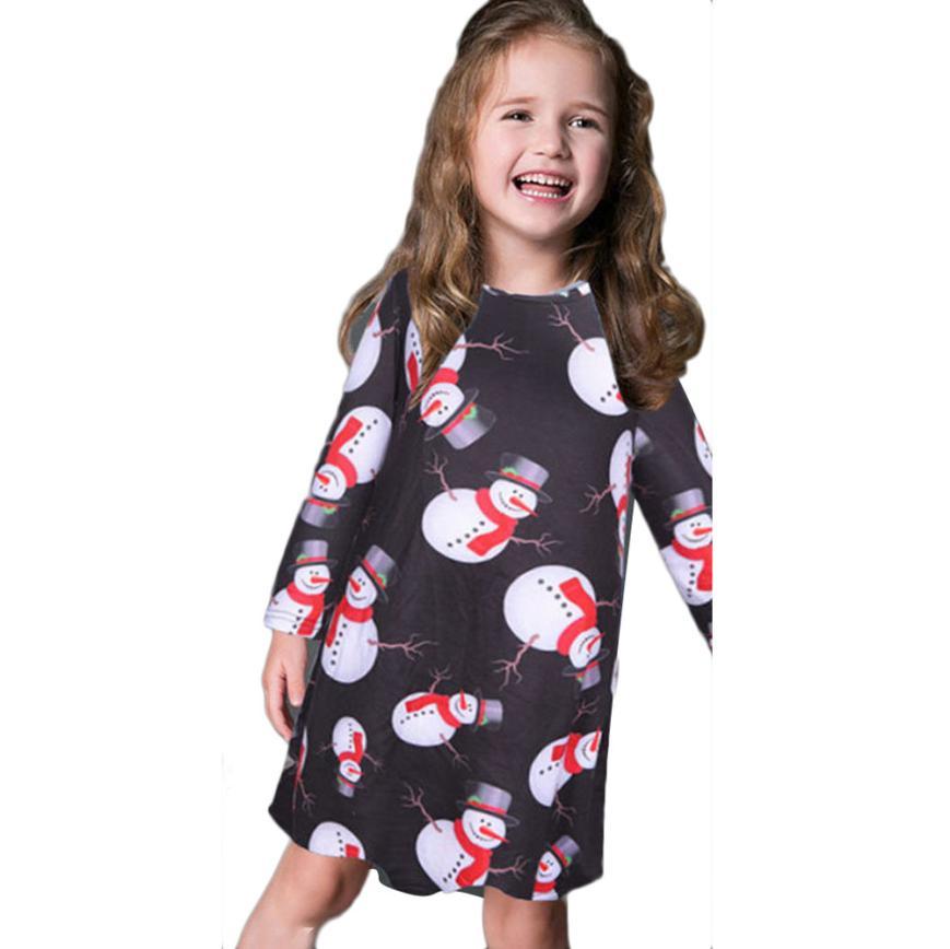 christmas-costumes-for-children-kids Girls Baby Xmas Long Sleeve Snowman Christmas Print Swing Dress girl party dress vestidos<br><br>Aliexpress