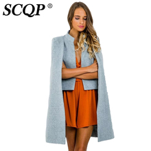 SCQP Solid Black Patchwork Woolen Coat Women Open Stitch Loose Ladies Winter Coat Wool Fashion Casual Long Blends Coats Women