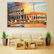 LARGE Wall Decor 3 Panels Art Canvas Prints Beautiful Roman Colosseum Coliseum Painting Picture Italy Giclee Print No Frame