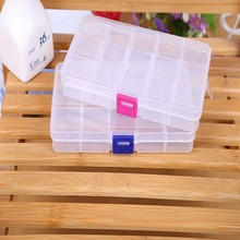 1pc Plastic Storage Box DIY Adjustable Button Pill Jewelry Box Case Organizer High Quality 10/15 Slots 2 size Supplies