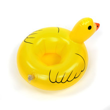 Mini water Coasters Duck inflatable cup holder floating pool drink float toy can beer sand seat yeti Water Bottle Accessories(China)