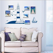 Tower Sailboat Sea Gull Photo Home Art Wall Sticker Decal Decor Paper 22.5x50cm Mediterranean style blue house wall sticker&17