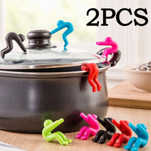 2pcs/lot Silicone Lid Holder Lilliputian Little people Raise Pot Lid Anti overflow Prevent Spill Controller Device 301-0452