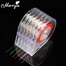 6 Pcs/set Nail Art Striping Tape Line Case Gold Silver Decoration Stickers Roller Box Clear Holder Easy Use Design Empty Boxs