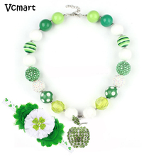 Vcmart St.Martin's day Children Necklace Green Apple Chunky Bubbelgum Necklace Headband Kids Children Necklace Dress Up
