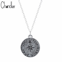 Antique Silver Plated Find Your True North Pendant Necklace Spirit Compass Graduation Gift for Kids Long Chain Collares 10pcs