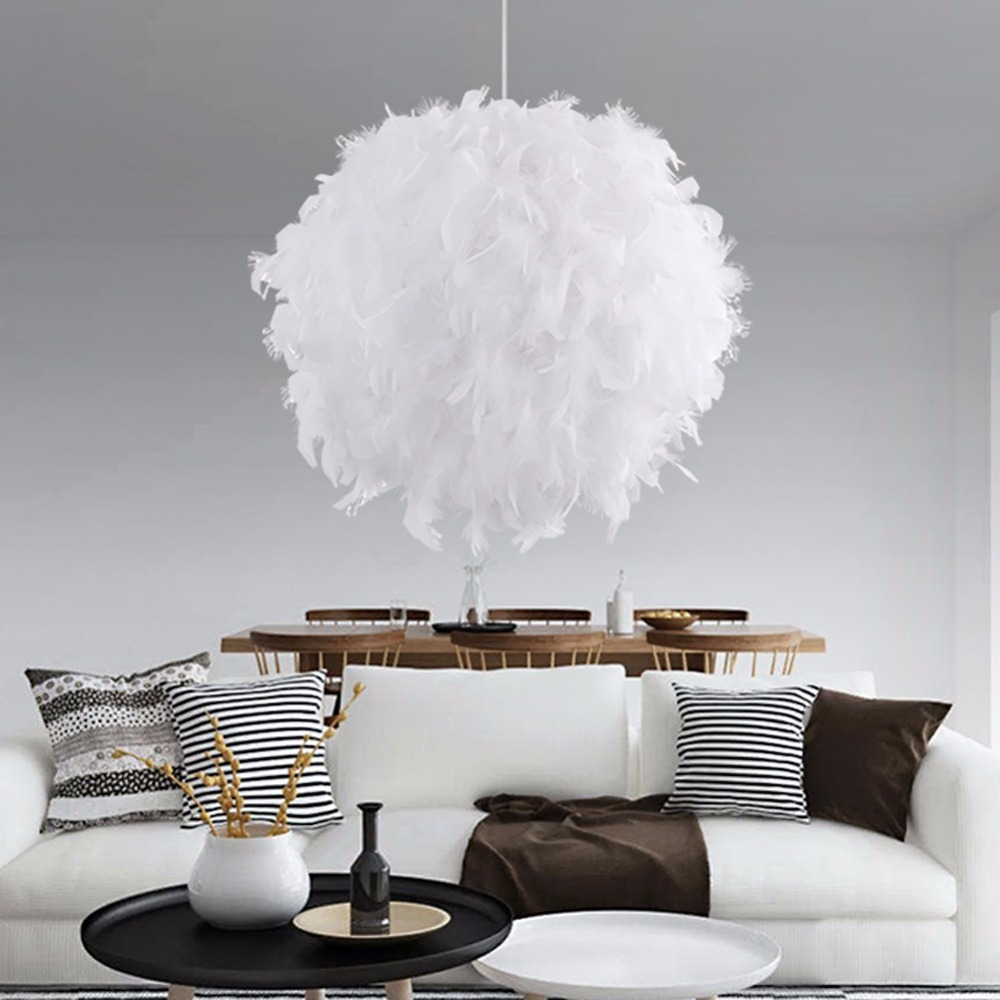 Modern Romantic Luxury White/Pink Color Feather Pendant Light Lamp Marriage Room Clothing Store Bedroom Dining Room Pendant Lamp<br>