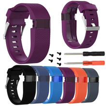 Mayitr Silicone Replacement Small/Large Wrist Band Strap For Fitbit Charge HR Sports Safety Wristband With Tool(China)