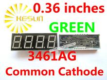 FREE SHIPPING 10PCS x 0.36 inches Green Common Cathode 4 Digital Tube 3461AG LED Display Module(China)