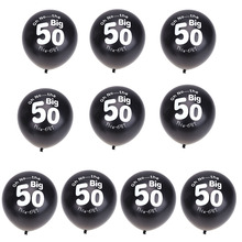10pcs 11inch Black Balloons 50th Birthday Party Pearlised Latex Printed Balloons Inflatable Party Decoration Celebration