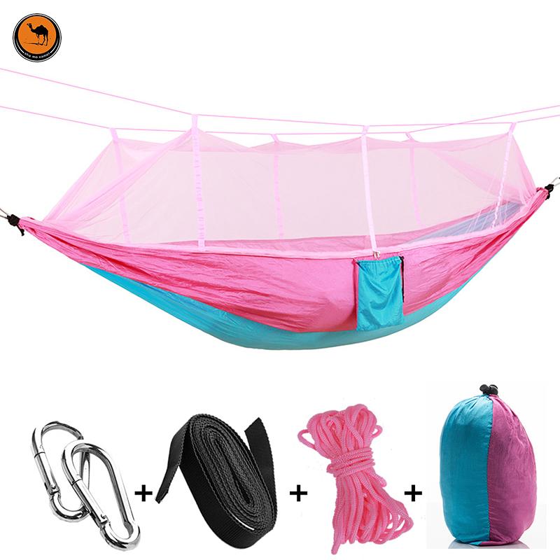 Hot Handy Portable Hammock Double/Single Folded Person In Bag Mosquito Hook Hanging Bed For Camping Travel Kits Outdoor Camping<br>