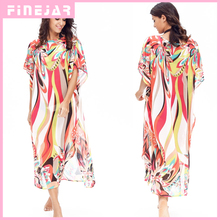 New Long-Sleeved Round Neck Multicolor Printing Loose Chiffon Blouse Turkish Beach Sun Dress FJ42066(China)