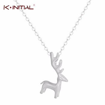 1Pcs 925 Silver Fashion Charm Deer Necklaces&Pendants Animal Horn Statement Jewelry For women Chain Necklace Accessories Gift