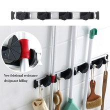 1 x Wall Mount Mop Broom Holder Organizer Garage Storage Solutions Mounted 4 Position 5 Hooks for Shelving VG089 P40