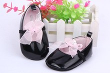 Fashion BLACK Soft Baby First Walker Girls Toddlers Infants Floral Lace Bowknot Crib Shoes