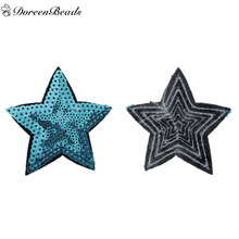 DoreenBeads 1PC Polyester Patches Clothes Bags Appliques DIY Scrapbooking Craft Pentagram Star Blue Sequins 79mm x 70mm