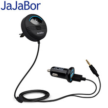 JaJaBor Car Kit AUX Bluetooth Hands-Free Calling Audio Music MP3 Player Noise Cancelling 5V 2.1A Dual USB Car Charger IOS Siri