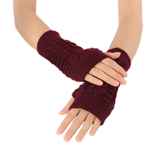 Mileegirl Women Winter Fingerless Gloves,Unisex Hand Arm Warmer Knitted Mitts Long Female Gloves Mittens(China)