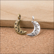 High Quality 50 Pieces/Lot 10mm*19mm Antique Bronze Or Antique Silver Plated Small Moon Charms For Diy Making
