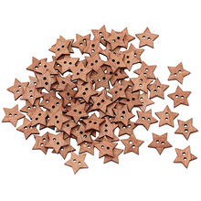 New100Pcs 2 Holes DIY Star Shape Wooden Button Scrapbook Craft Sewing Buttons  7KFM