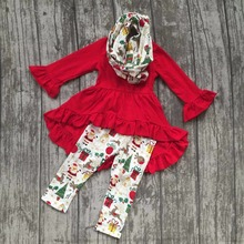 baby girls fall/winter 3 pieces sets scarf ruffle boutique children cotton clothes christmas gift print red dress top outfits