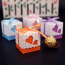 100 A Variety Of Colors Wedding Favour Favor Sweet Candy Cake Gift Boxes Bags Hearts(China)
